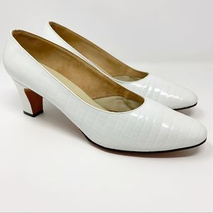 Delman Vintage Alligator Calf Pumps 10B White